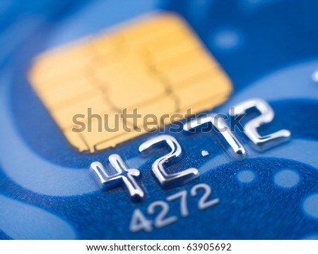 a blue bank card, macro, narrow focus