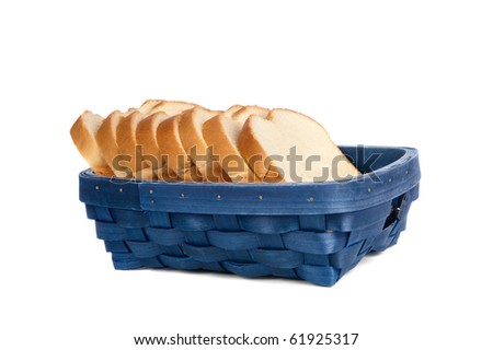 A blue basket of sliced bread on a white background