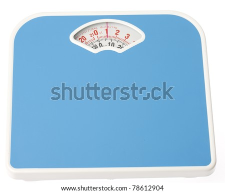 A blue bathroom scale on isloated white background