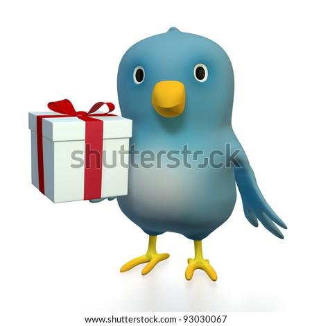 """A blue bird (""""Bluebert"""") with a gift box"""
