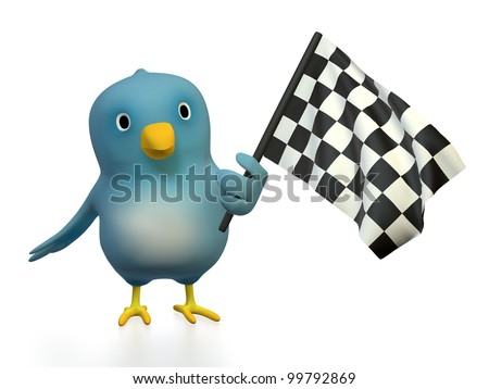 "A blue bird (""Bluebert"") with checkered flag"
