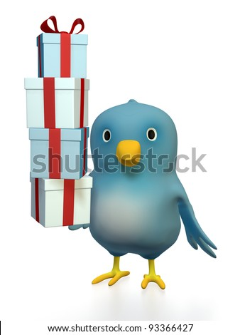 "A blue bird (""Bluebert"") with gift boxes"