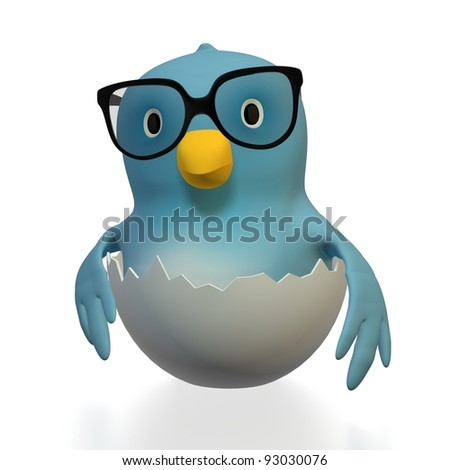 "A blue bird (""Bluebert"") with glasses sitting in the half of a cracked eggshell"
