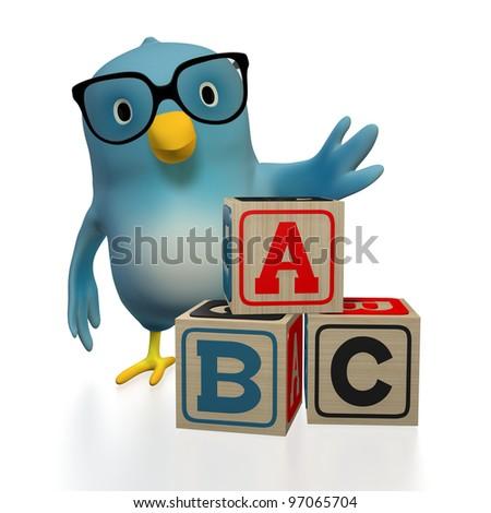 "A blue bird (""Bluebert"") with toy blocks, spelling ABC"