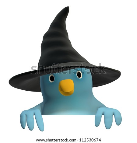 """A blue bird (""""Bluebert"""") with witch hat with an area to fill in your text"""
