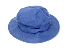 a blue bucket hat isolated on a white background