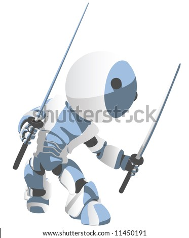 A blue cartoon robot Ninja in a defensive pose with two katanas. - stock photo