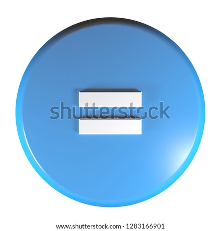 A blue circle push button with the sign = for the mathematical - algebric operation of equality - 3D rendering illustration