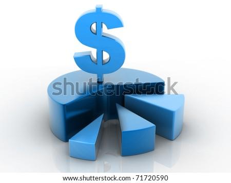 A blue color 3d pie chart graph & Dollar