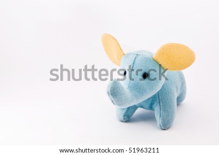 A blue elephant with yellow ears