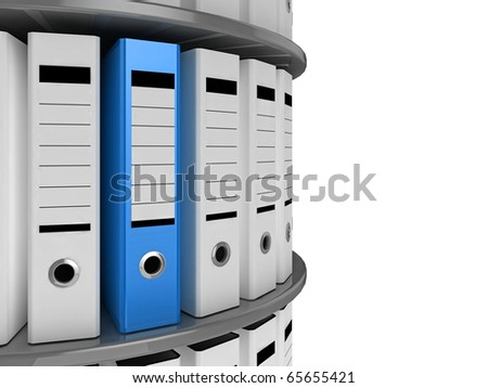 A blue file standing out on a circular shelving unit