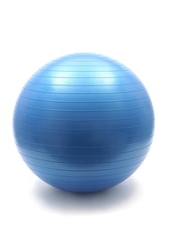 A blue fitball isolated against a white background