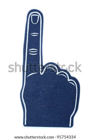 """A blue foam finger for sports events signifying """"we are number 1!"""""""