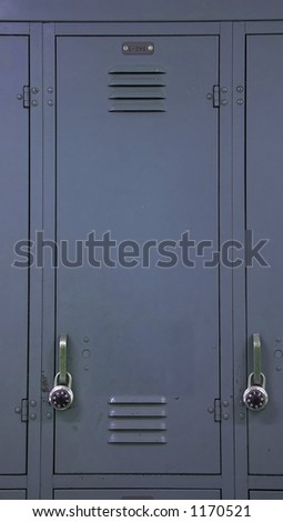 A blue gray school locker