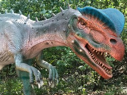 A blue, green, red and peach colored dinosaur with sharp teeth at Brookfield Zoo.
