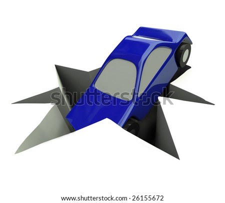 A blue illustrated car plunges into a deep hole