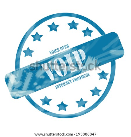 A blue ink weathered roughed up circle and stars stamp design with the words voice over internet protocol VOIP on it making a great concept.
