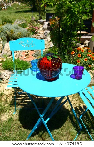 a blue iron garden furniture in a garden