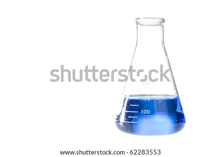 A blue liquid in an erlenmeyer flask isolated on a white background.