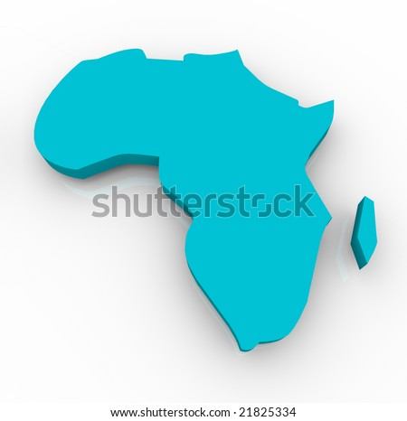 A blue map of Africa on a white background