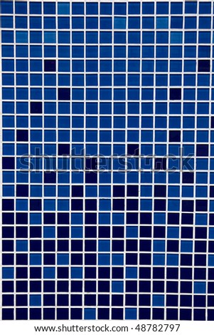 a blue mosaic  designed ceramics wall