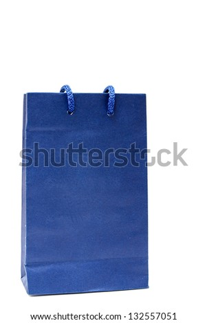 A blue paper shopping bag on white background - stock photo
