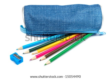 A Blue Pencil Case With School Supplies On White Background ...