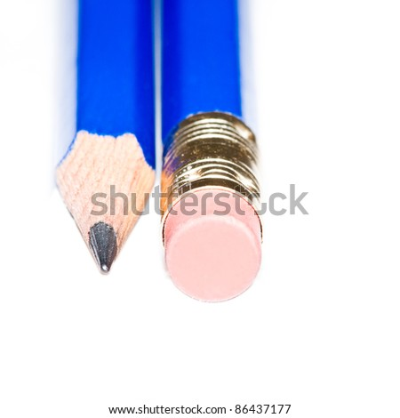 A blue pencil point and an eraser shot against a white background.