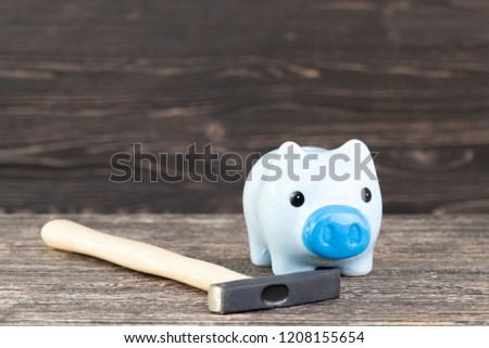 a blue piggy bank for coins in which it adds up and saves its savings, a pig-shaped piggy bank with a hammer to check the amount of savings #1208155654