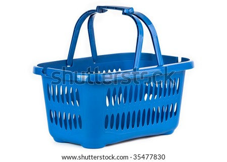 A blue plastic shopping basket on a white background.