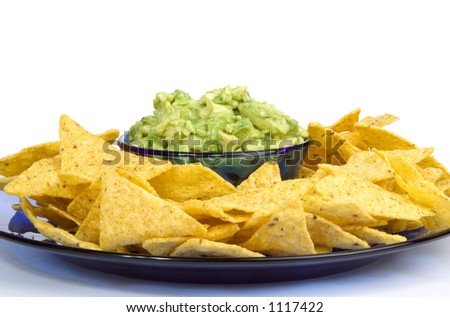 Blue Plate Loaded With Corn Tortilla Chips And Guacamole Dip. Ole ...