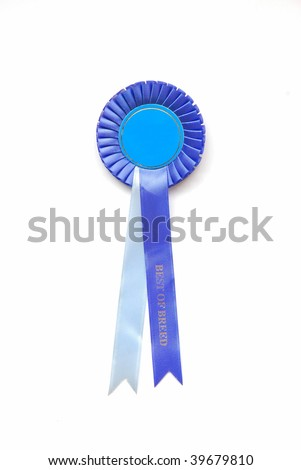 A blue real rosette with text BEST OF BREED on ribbon. Image isolated on white studio background.