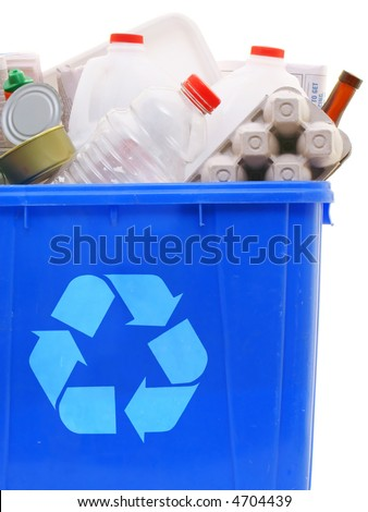 a blue recycling bin full of recyclable things - bottles, containers, newspapers, cans