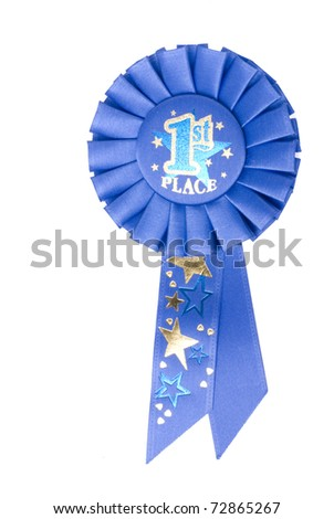 A blue ribbon on a white background displaying 1st place