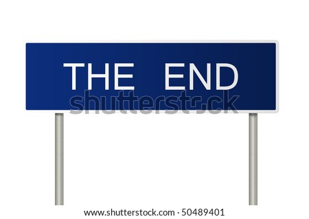 A blue road sign with white text saying The End - stock photo