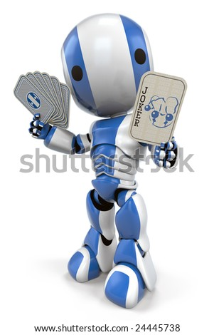 A blue robot holding up a joker card. With his advanced probability and chance assessment programming, you just can't beat him!
