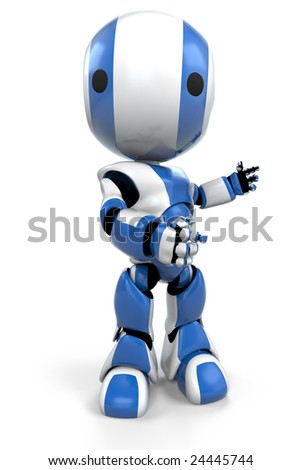 A blue robot making a gesture to the right as he speaks to or looks at his audience.