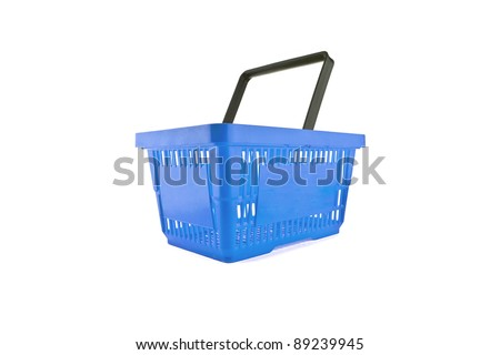 a blue shopping basket