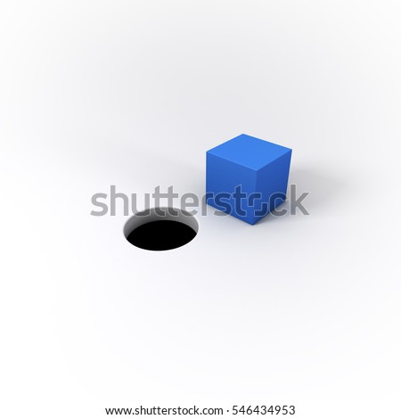 A blue square peg and round hole on a bright background.  Visual representation of the idiom