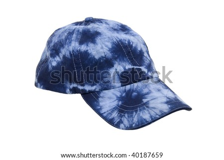 A blue tie dye baseball hat for everyday wear when you want to blend in with the crowd - path included