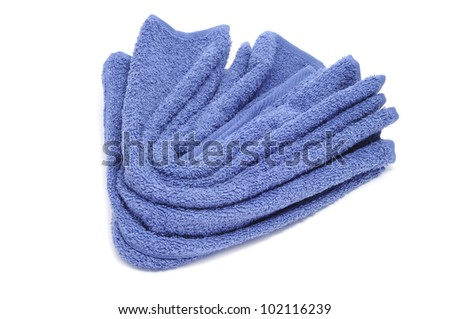 a blue towel on a white background