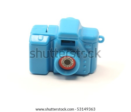 A blue toy 35mm camera