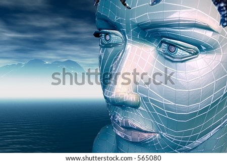 A blue wireframe girl