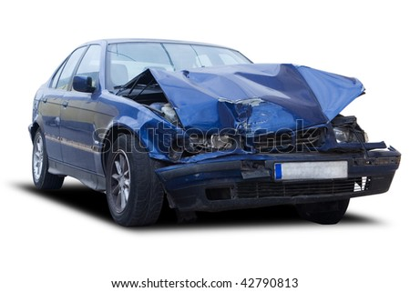 A blue wrecked car isolated on white - stock photo