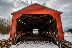A Blustery Day at Sachs Covered Bridge, Adams County, Pennsylvania, USA