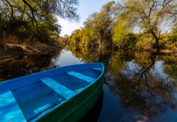 A boat for riding in the lakes of bharatpur, Keoloadev National Park, Rajasthan, India