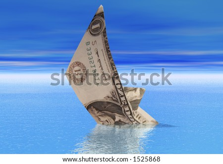 A boat made from a dollar bill sinkong into a calm sea