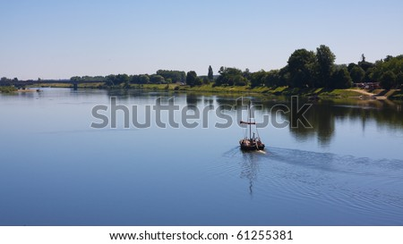 A boat on the Loire River in blois, France