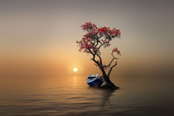 a boat with a tree in  the sunset