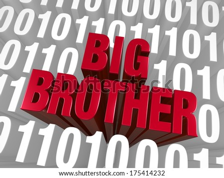 "A bold, red ""BIG BROTHER"" emerges from a background of computer code."
